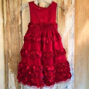 Bonnie Jean Red Roses Fancy Dress sz 6 EUC!